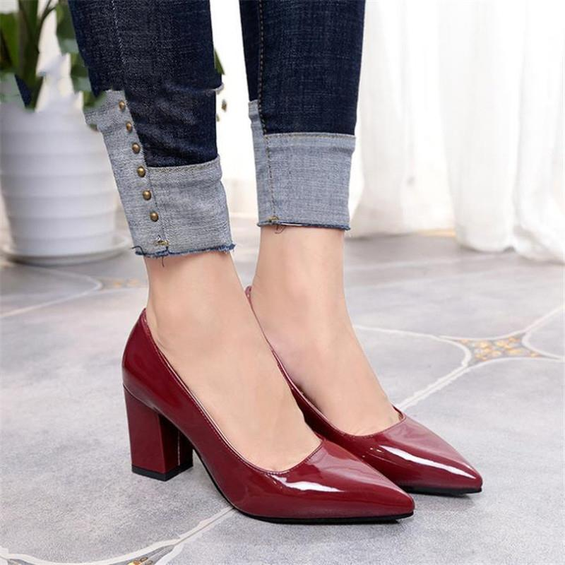 2020 New Women Pumps Black High heels 7.5cm Lady Patent leather Thick with Autumn Pointed Single Shoes Female Sandals Big 33-43