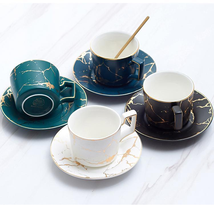 Tazza da tè in ceramica marmo della tazza di caffè piattino Spoon Set 200ml Nordic Matt Porcelain Tea Set avanzata Teacup Cafe Espresso Cup