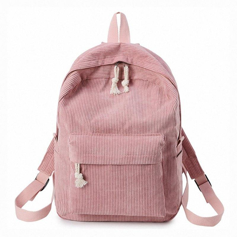 Moda formal estilo suave Backpack Feminino Corduroy Design Escola Backpack Para Meninas Adolescentes Estudantes Durable Schoolbag Mulheres 0s4T #