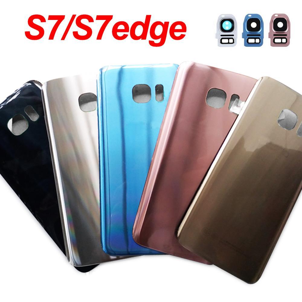 Для SAMSUNG Galaxy S7 G930F / S7 Край G935F Заднее стекло Крышка батарейного отсека задней двери футляр для SAMSUNG S7 Назад Стеклянная крышка
