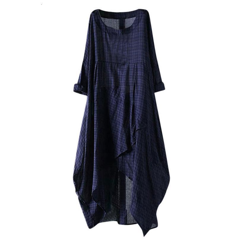 2020 Verão Últimas algodão macio Vintage Fashion Casual solta alargamento da manta Irregular Hem Maxi vestido longo frete grátis D4