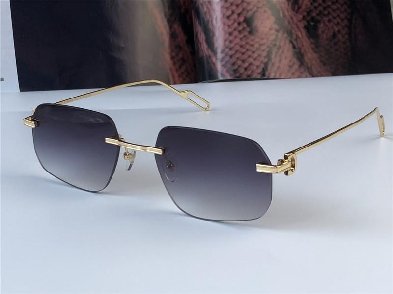 새로운 패션 도매 선글라스 0113 작은 초경량 불규칙한 프레임리스 레트로 Avant-Garde Design UV400 밝은 색 렌즈 UV400 안경
