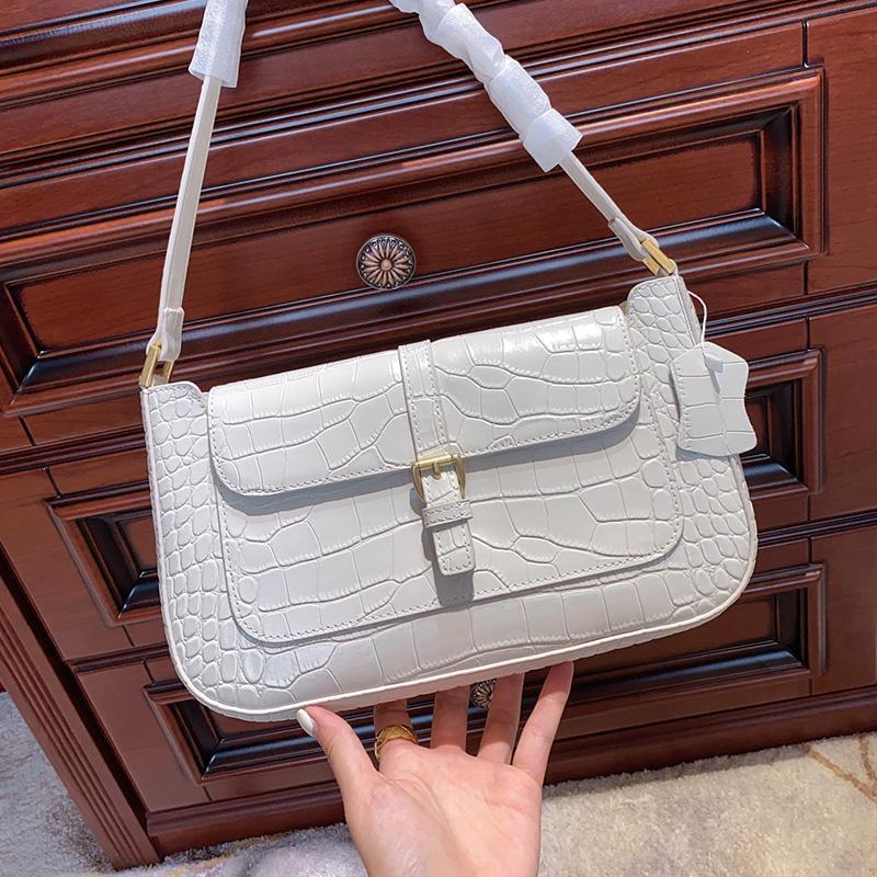 High Grade Mode Achseltasche Krokodil-Muster-Leder-Umhängetasche Weiß Medium Partei Damen-lässige Schultertasche aus Leder Handtaschen Typ1