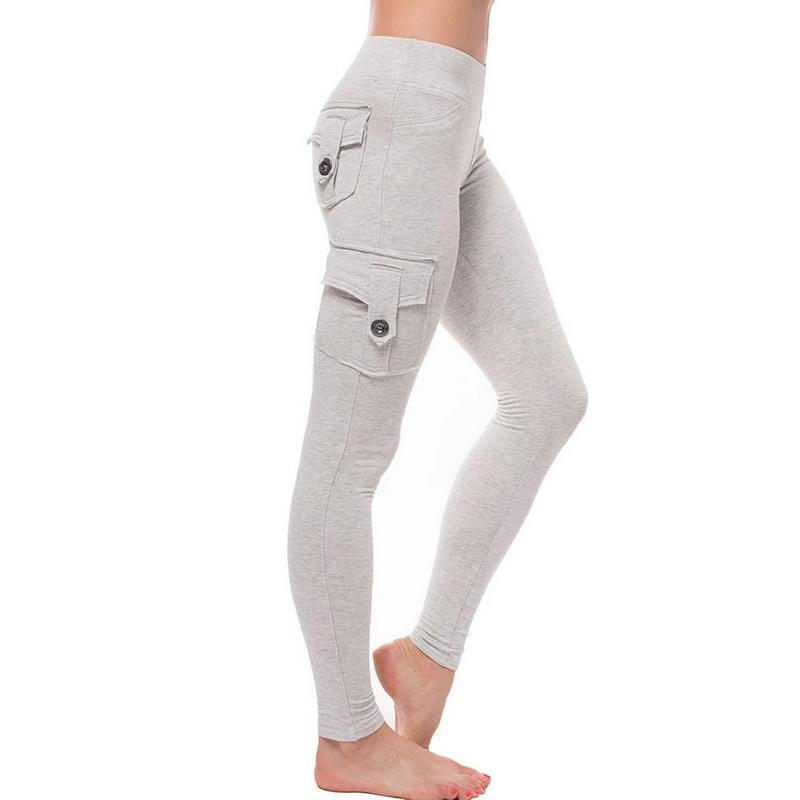 Frauen mit hohen Taille dünne Gamaschen Herbst Winter Cargotasche Lange Legging Sexy Push Up dünnen Bleistift Jogger weichen Stretchy Sport Pant