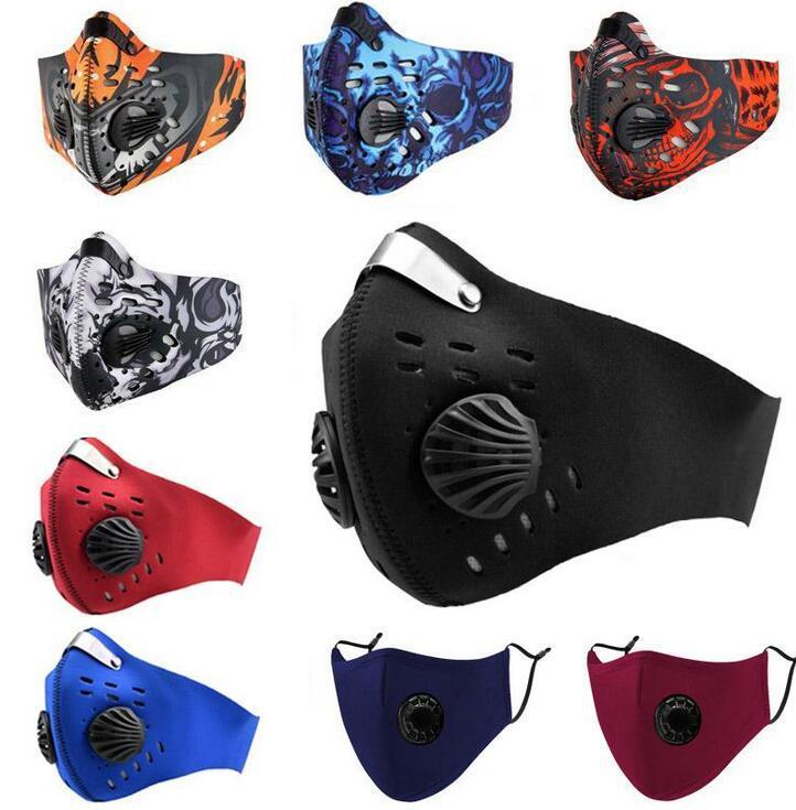 DHL envía filtro Máscara de Ciclismo de cara con respirador Válvula PM2.5 Boca máscara protectora anti polvo al aire libre Deportes al aire libre de la motocicleta de la bicicleta