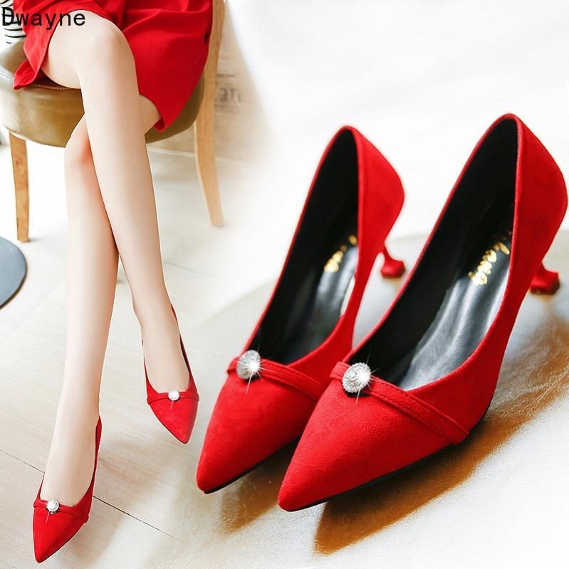 2020 printemps et en automne nouvelles chaussures simples 6cm sexy strass haut talon haut talon aiguille chaussures de travail sauvage pointu mariage