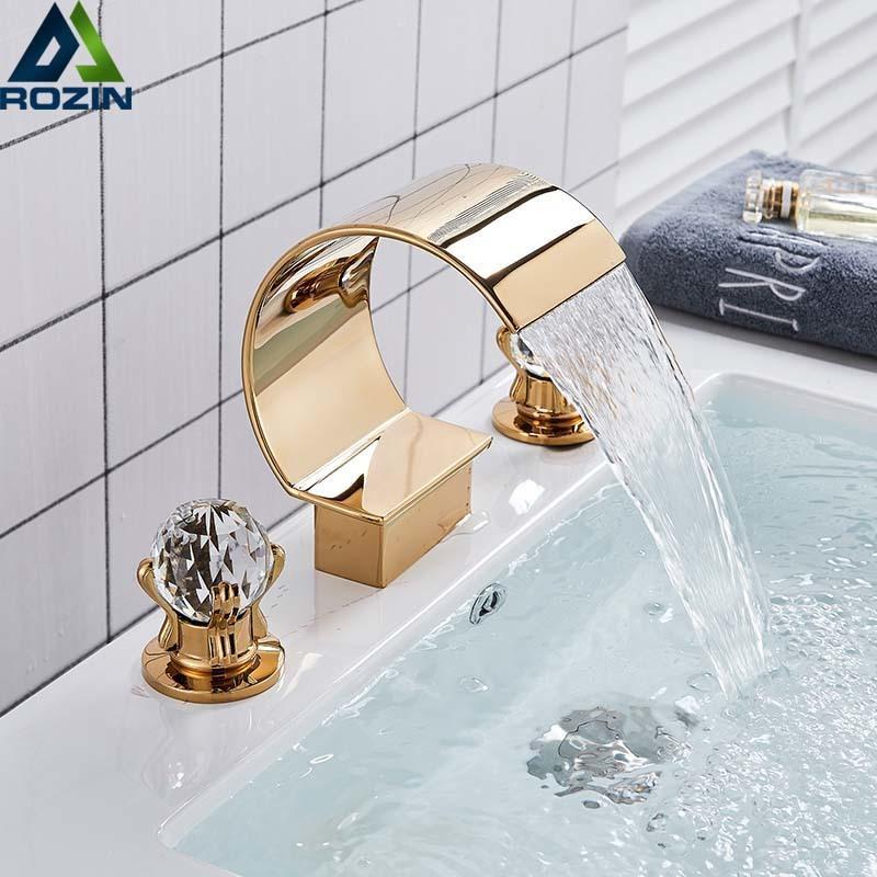 Bright Golden Waterfall Basin Faucet Dual Cristal Handle Widespread Bathroom Sink Mixer Tap Deck Mounted Bathtub Mixers Crane T200710