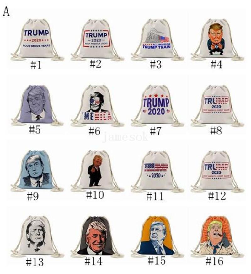 ترامب برسم أكياس حبل 24 أنماط حقيبة التخزين 2020 الولايات المتحدة الرئاسية الانتخابات ترامب حملة نمط حقيبة تسوق حقيبة الشاطئ DA682
