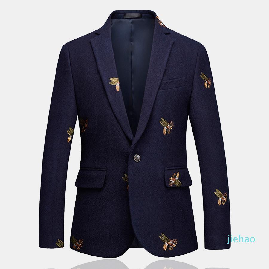 Manera- para hombre Blazer Un botón de abeja de boda del bordado ocasional elegante chaqueta delgada del ajuste de alta calidad de gran tamaño 6XL Azul marino Ropa de hombres