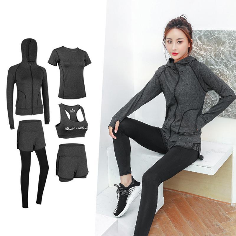 YOGA Kıyafetler 5 Adet Set Kadın Spor Giyim Giyim Gym Dış Koşu Giysileri için Spor Takım Elbise Eğitim Egzersiz Hızlı Kuru Tulum