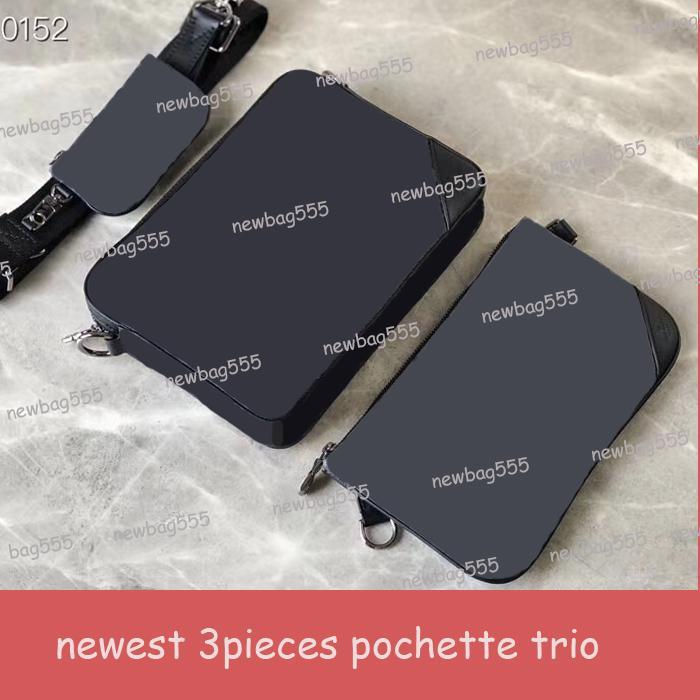 Nouveau sac messenger trio mode masculine emblématique de 3 pièces Floral pochette noir gris toile sac à bandoulière Porte-monnaie clé de poche m69443 poche zippée