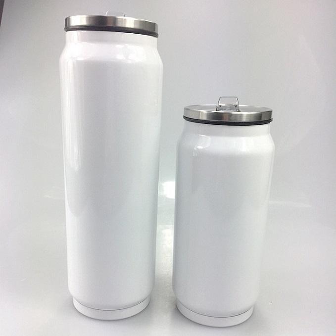 DIY حرارة التسامي 12OZ / 17oz كوب ماء كولا يمكن الفولاذ المقاوم للصدأ كولا الشكل القدح كولا زجاجة فراغ معزول فنجان القهوة مع سترو اغطية