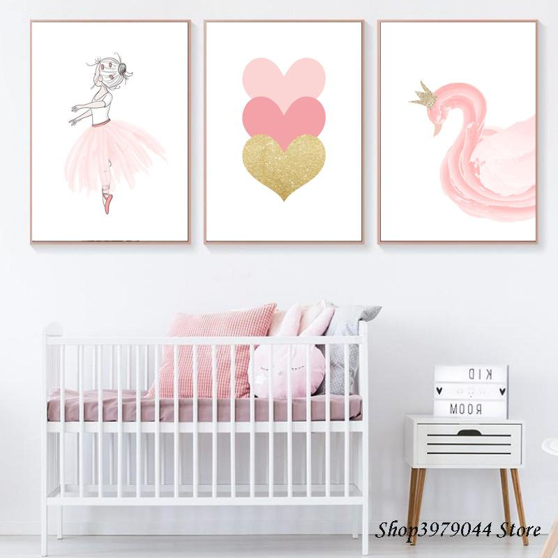2021 Baby Room Poster Nordic Swan Canvas Painting Pink Heart Nursery Wall Art Print Ballet Poster Wall Picture Baby Girl Room Decor From Haloqueen 3 84 Dhgate Com