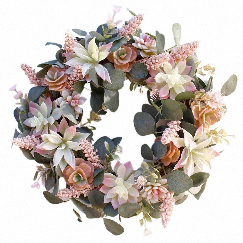 Artificiale succulente Fiore Corona giardino pensile Corona per la casa parete frontale Porta nuziale della XVZO #