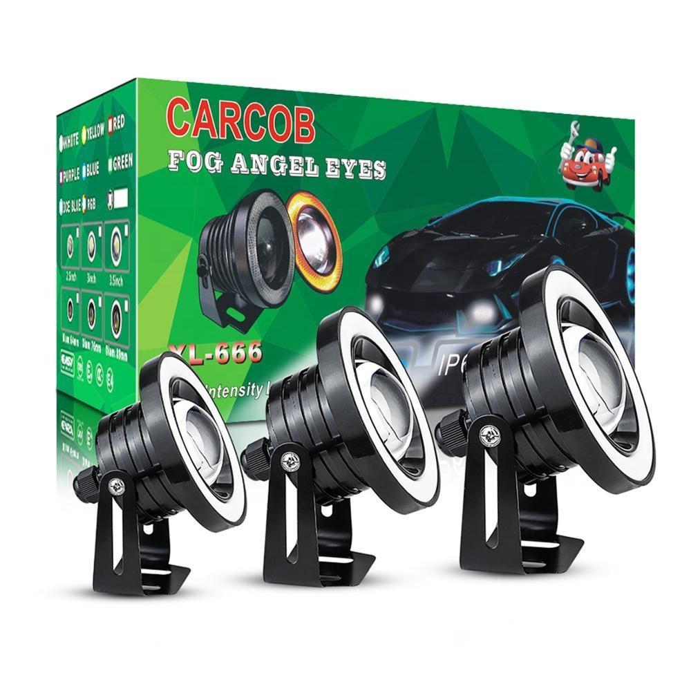 Winsun 2pcs 2.5 / 3.0 / 3.5 luce del proiettore dell'automobile di pollice COB LED della nebbia di Angelo Bianco Luce degli occhi Halo anello DRL di guida