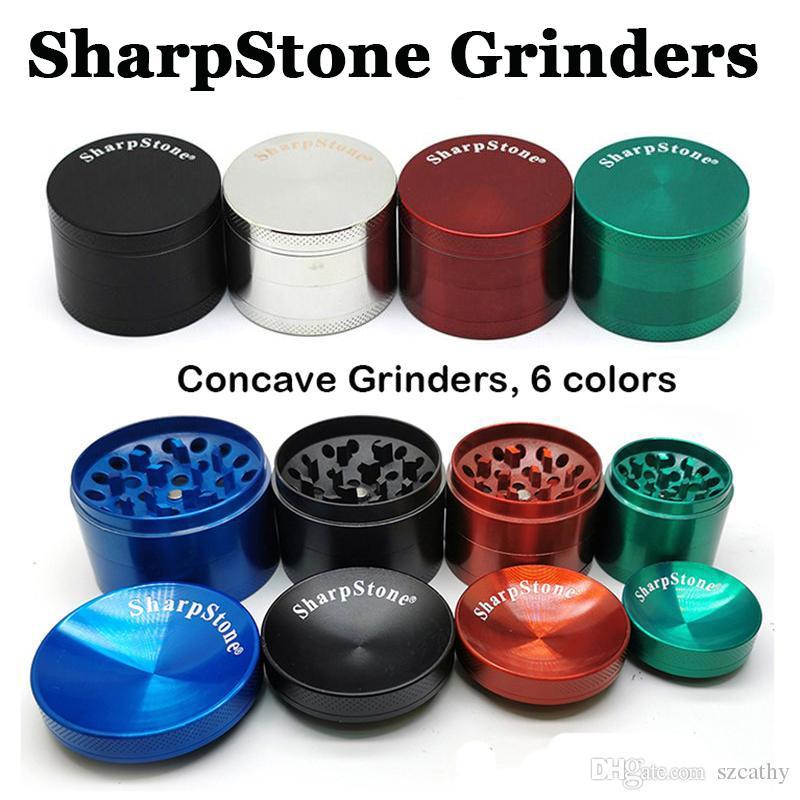 SharpStone Schleifmaschinen Concave Grinder Dry Herb Vaporizer Kräutergewürz Crusher 40mm 50mm 55mm 63mm Metall 4 Schichten Flachschleifmaschinen E-Zigaretten