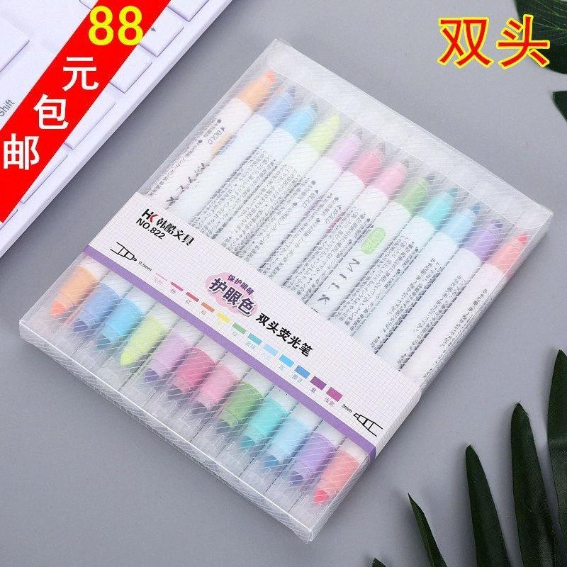 fluorescente penna studente colore della caramella doppia testa 12 colori handlettering colore brillante DJ8W #
