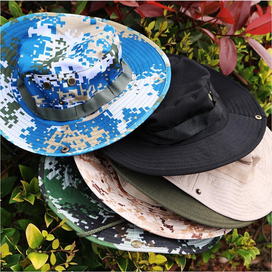 위장 챙이 넓은 모자 라운드 에지 차양 모자 접이식 메쉬 어부의 모자 하이킹 모자는 야외 비치 Sunsreen 모자 LJJP232 씻어