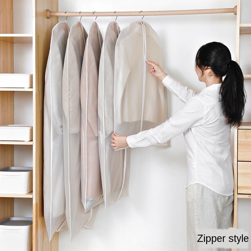 capa de poeira uoWQC peva transparente pendurado sobretudo armazenamento terno saco de roupas limpar a roupa tampa limpeza doméstica bolso de armazenamento engrossado