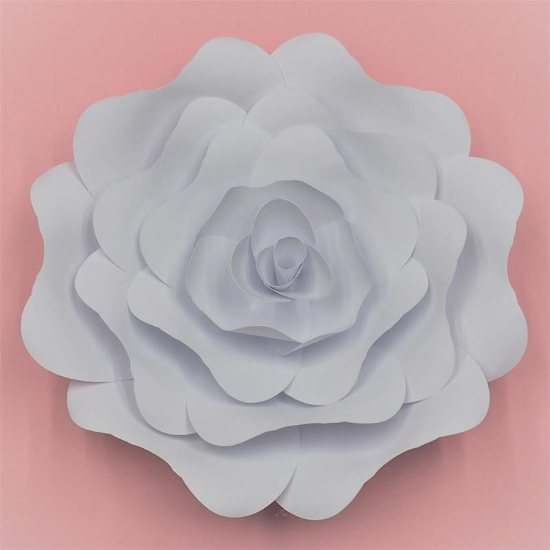 Beyaz Çiçek Düğün Dev Kağıt Çiçekler DIY Tam Setleri Kağıt Gül Ev Duvar Süsü Düğün Arka planında Lavanta Temalı Parti