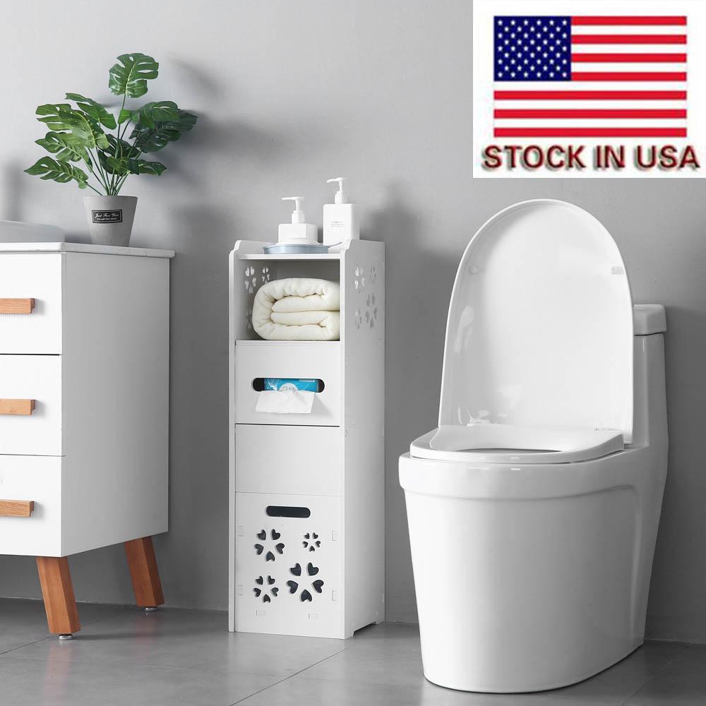 Garbage a 3 livelli 25 * 25 * 80 cm Toilet Shelf Corner Bathroom Storage Rack Cabinet Multi Layer Storag White