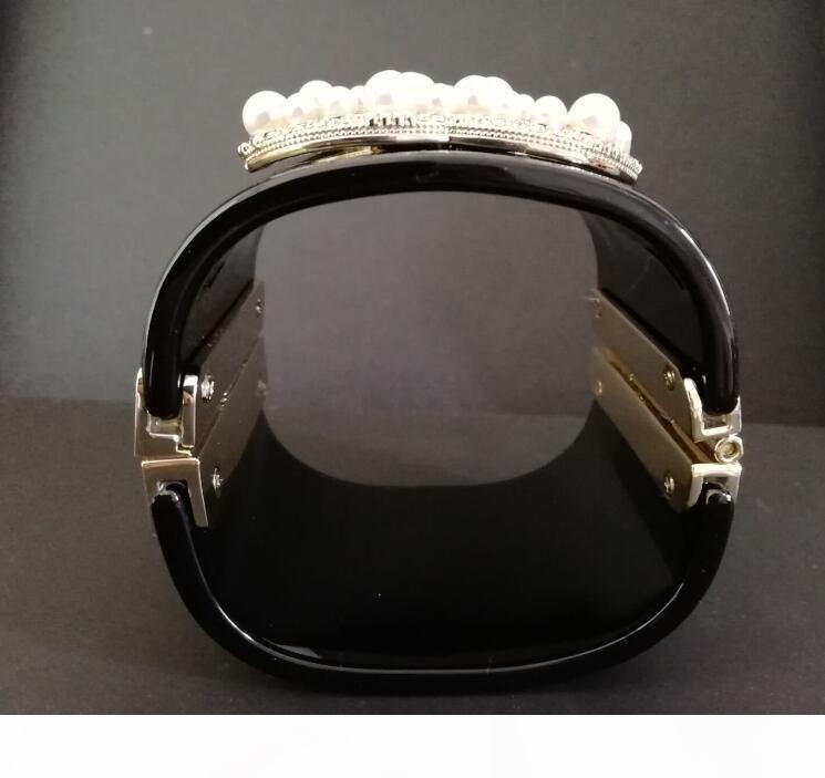 2020 Nueva lujo negro perla pulsera brazalete! Moda acrílico deisgner brazaletes pulseras brazalete pulsera para las mujeres con la bolsa