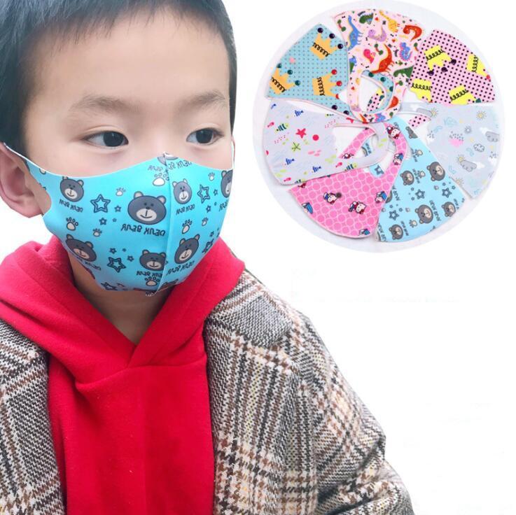 Máscara facial de polen niños a prueba de polvo Prevención Máscaras Máscaras anti boca PM2.5 impreso historieta de la cara para el bebé Niño mantener limpio niños YP517