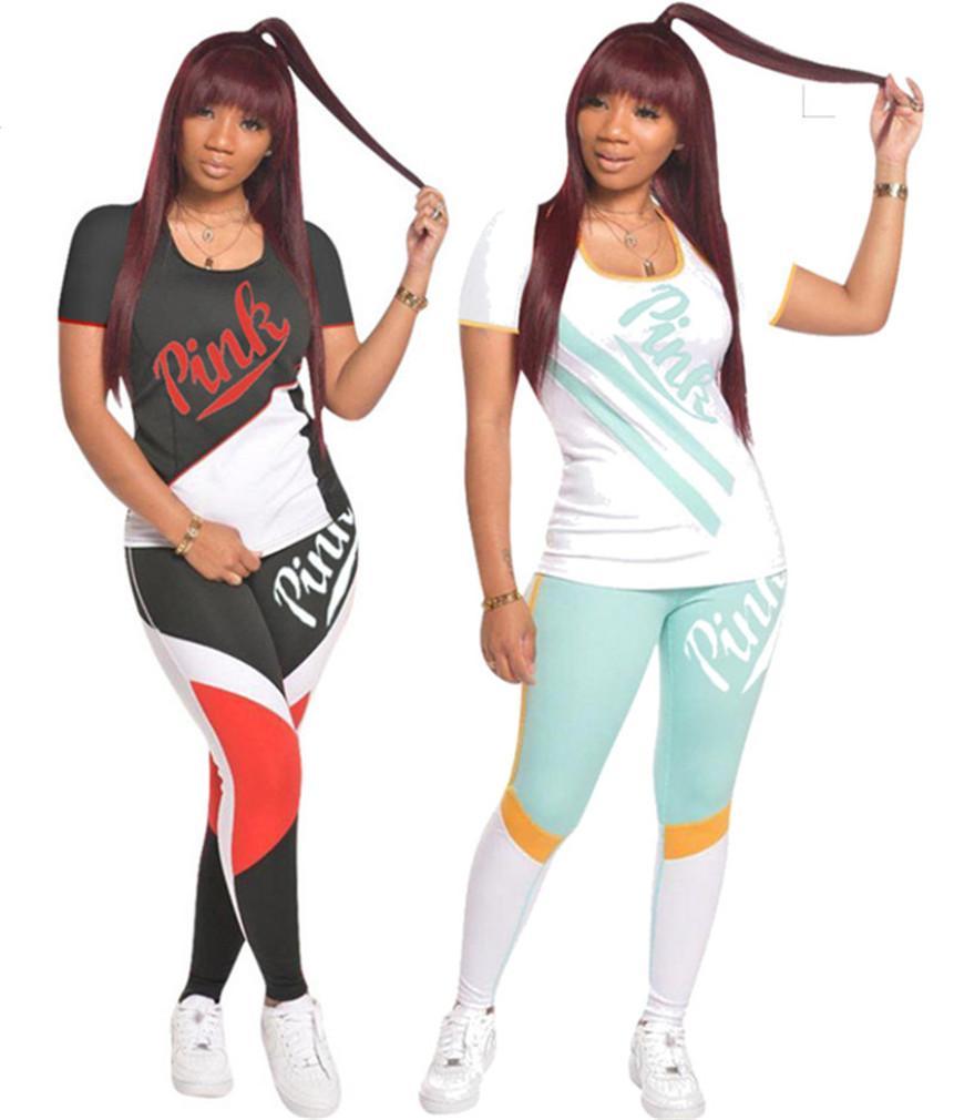 gambali ROSA sport delle donne abiti casual tuta 2 set manica corta maglietta + pantaloni scarni vestiti caduta estate sportivo 3535