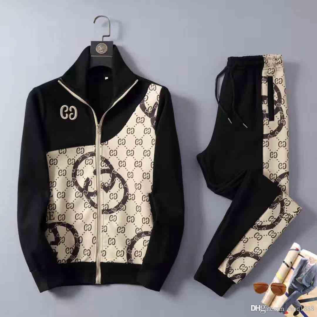 Mens di lusso Tuta Sportwear Primavera Autunno maniche lunghe giacche casual con pantaloni casual Jogger Homme tute