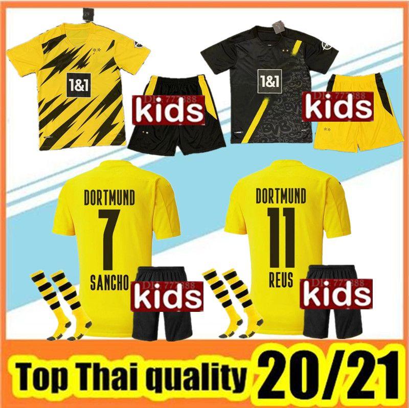 2020/21 Боруссия футбол Джерси 20 21 дети футбол рубашка SANCHO Хуммельс BRANDT PACO DELANEY GK дети комплект Майо