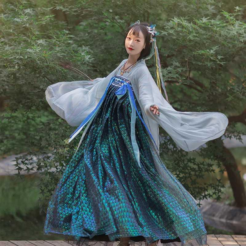 New Fairy Hanfu Dress Beautiful Peacock Scales Women Hanfu Traditional Clothes Festival Outfit Chinese Folk Dance Costume BL4379