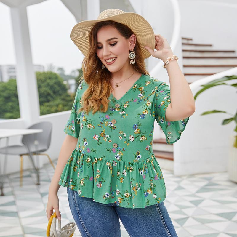 DOIB Plus Size Blouse Shirt Floral Print V Neck Ruffle Hem Blouse 2020 Summer Office Lady Elegent Shirt XL 2XL 3XL 4XL