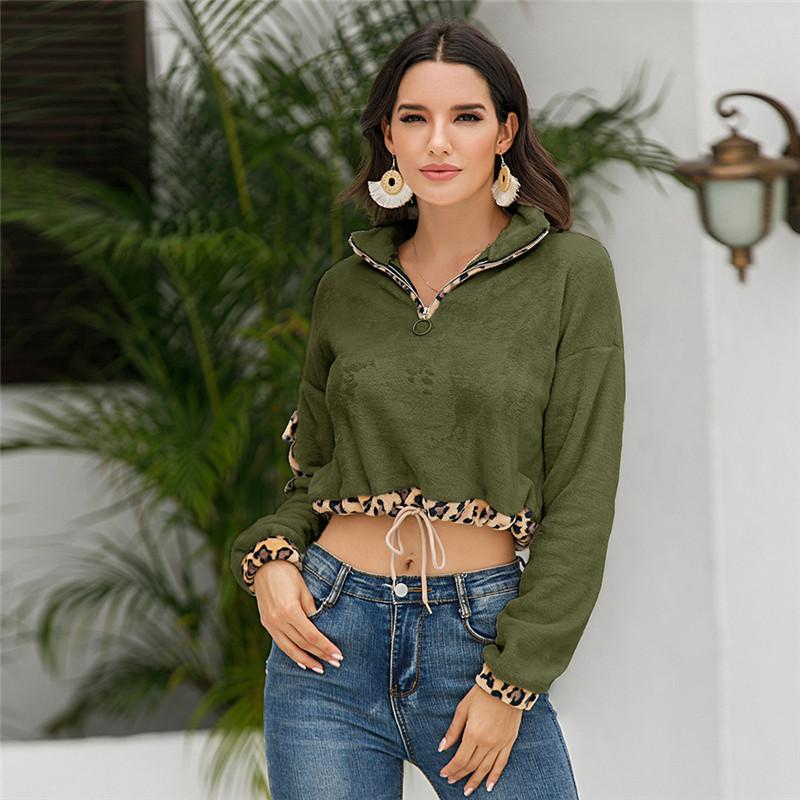 Frauen Hoodies Designer Leopard Printed aushöhlen Frau Sweatershirt beiläufige lose Normallack-Frauenkleidung