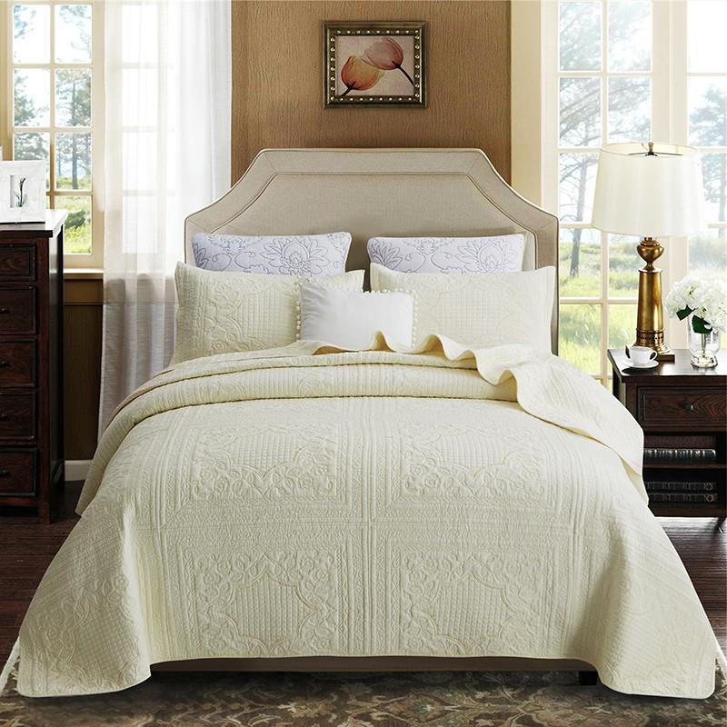 BEIGE cotone Copriletto ricamo Quilting Quilts Home Bed lusso stabilito della copertura letto di King Size 230x250cm Coperte lenzuolo federa