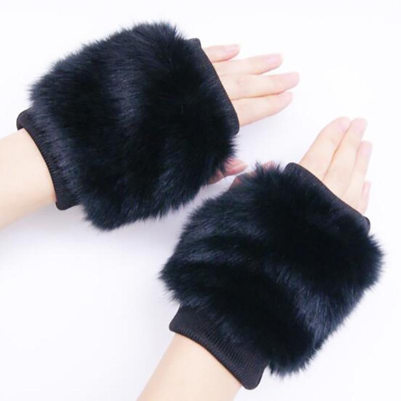 Перчатки корейской EN черноморских женщин Универсальной зима Плюшевой Бархатный толстая теплые Студент Пара Typing Половина Finger езда перчатка W112