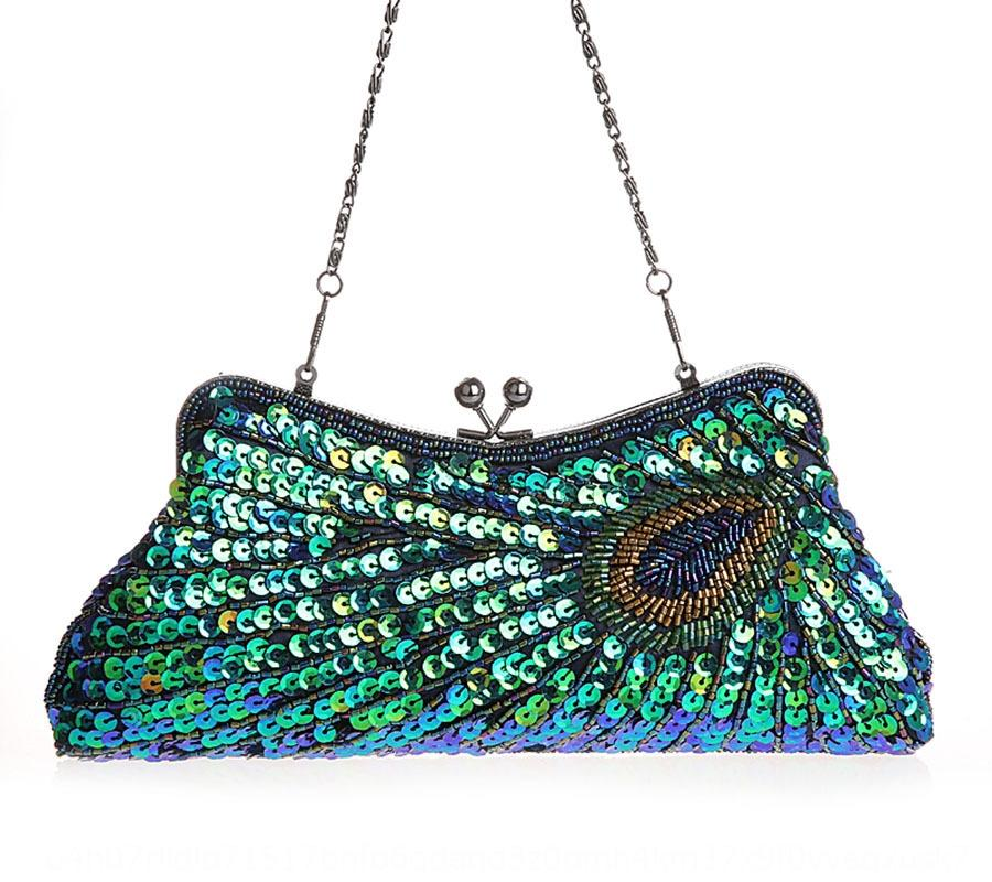 Best seller handmade hand Embroidery hand pearl embroidery dinner Peacock chain bag bag 3381