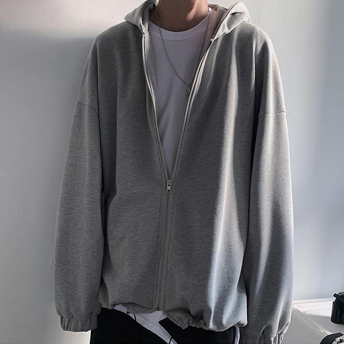 Japanische Art Solid Color Zipper Up Herren Cardigan-Qualitäts-Herbst-Winter-Baumwollmantel übergroße lose beiläufige Strickjacke mit Kapuze