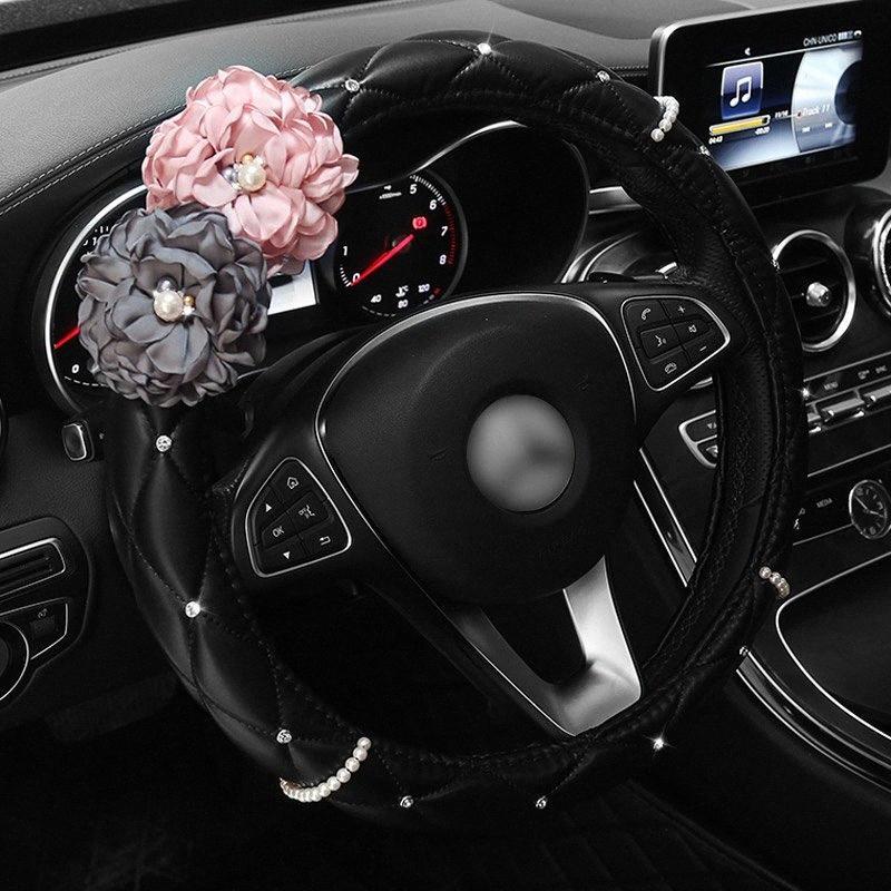 Dirección perla diamante rosa coche de la flor de piel cubierta de la rueda de dirección del Rhinestone cubierta cubiertas de la rueda Mujeres Accesorios Qsqb #