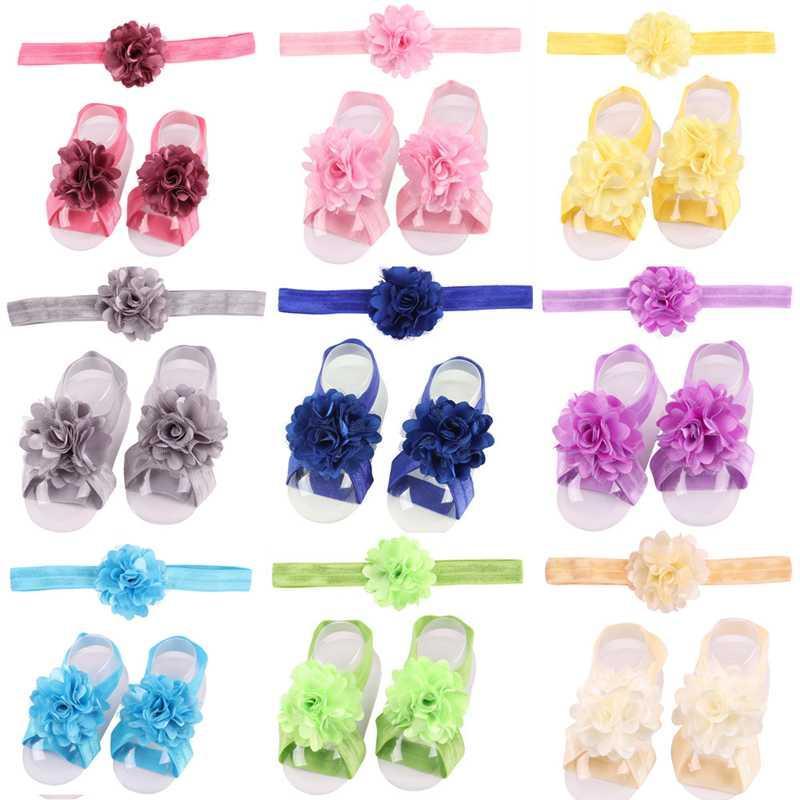 Новорожденный оголовье Босиком шифон цветок Stretch Ножка Ленточнопильных оголовий ребёнки Босиком сандалии ноги украшение