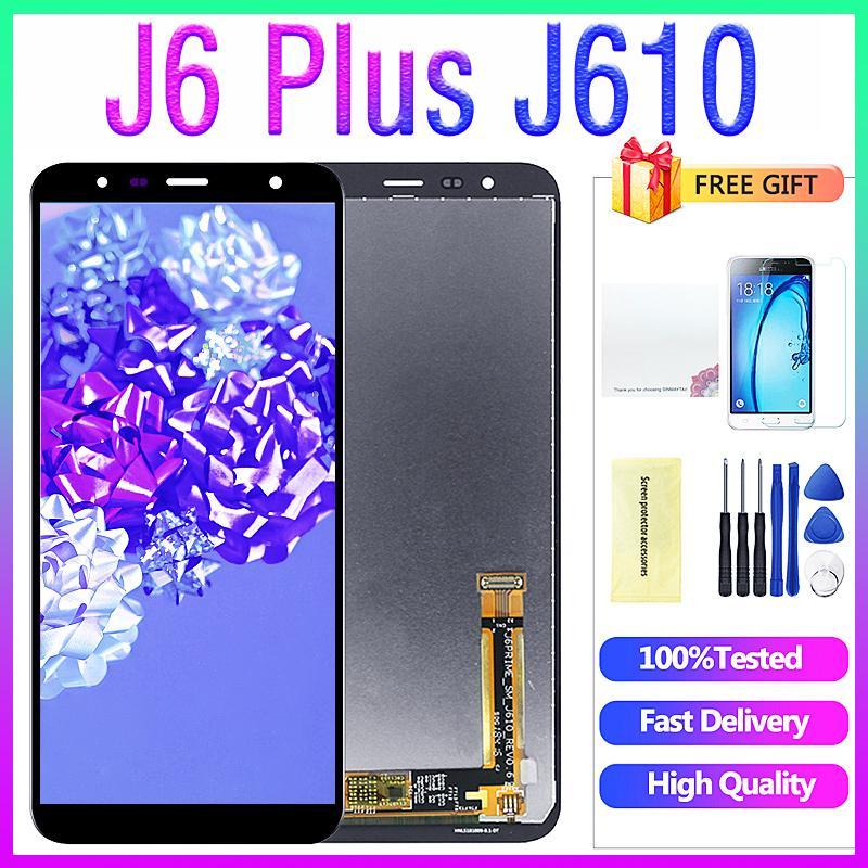 Samsung J6 Artı gösterge ekranı için Samsung Galaxy J6 + J610 J610F J610FN Ekran LCD Ekran değişimi için Orjinal 6.0 inç LCD