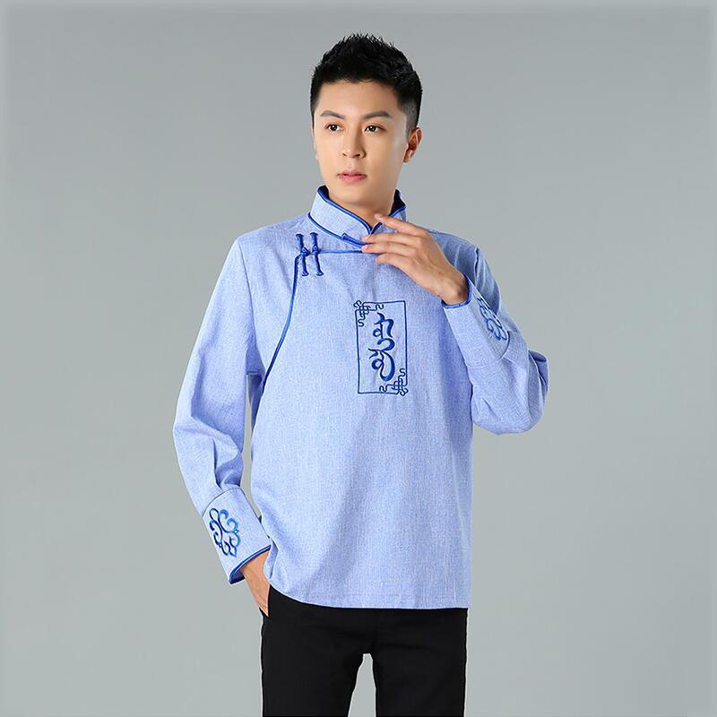 Homme mongolie herbage vintage vêtements ethniques mongols costume streetwear style costume Tang classique Top asie vêtements