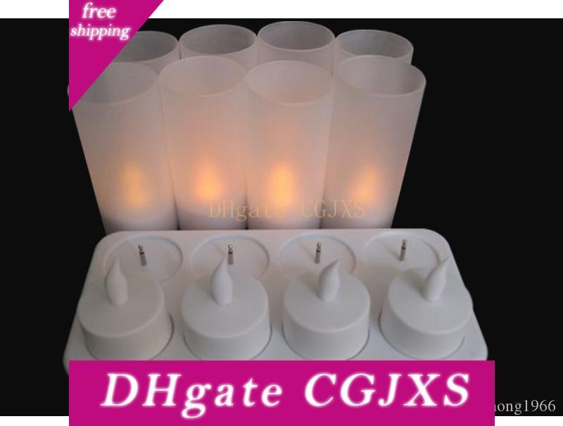 New Creative Led Light Rechargeable Candle Lights Small Tea Wax Smokeless Candlelight Lamp 8 Seats Simulation Candles High Quality 58sh
