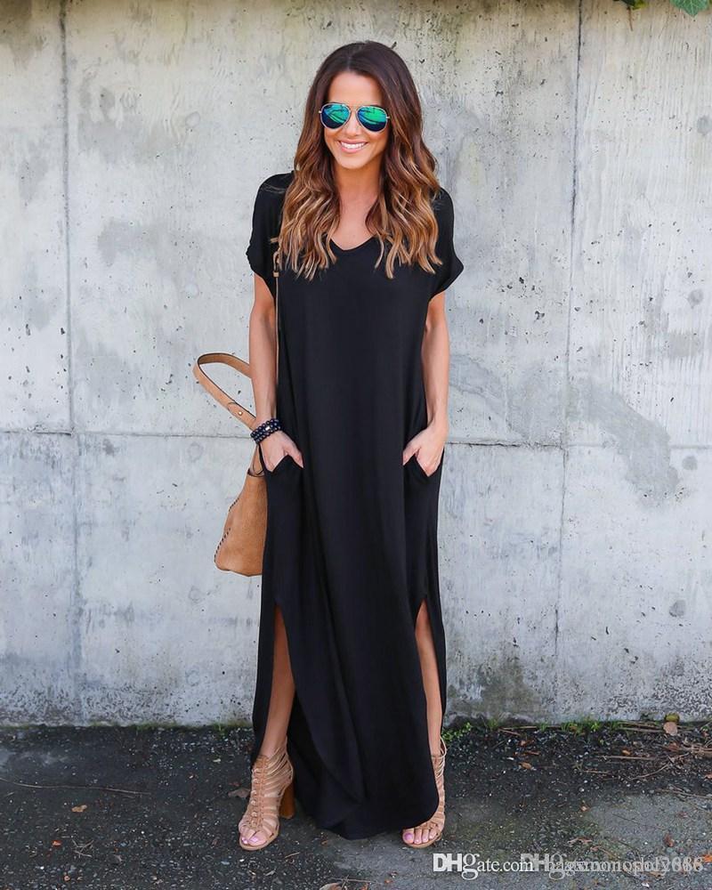 Frauen kleiden Baumwollmischung mit tiefer V-Ausschnitt kurz sleevel Tasche Einfarbig Split Sling-Dame-Long-beiläufige losen Kleider Rock Größe S-XL D4 Meerjungfrau