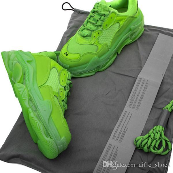 Novos designers de luxo Paris 17FW tripla verde s Limpar Sole Sneakers clara inferior Homens Mulheres BL Black White Low-top instrutor vovô Vintage