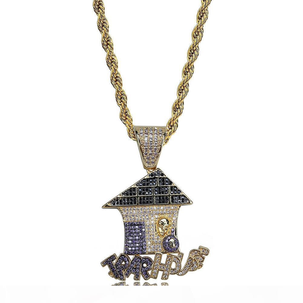 mens collana hip hop monili di rame con zircone ghiacciato fuori catene casa Natale Regalo di alta qualità all'ingrosso monili della collana del pendente