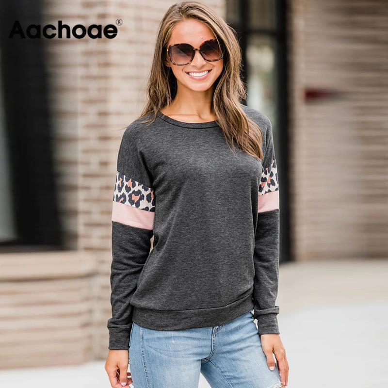 Aachoae Women Hoodies And Sweatshirts 2020 Leopard Print Long Sleeve Casual Pullover Stripe Patchwork O-neck Top Sudaderas