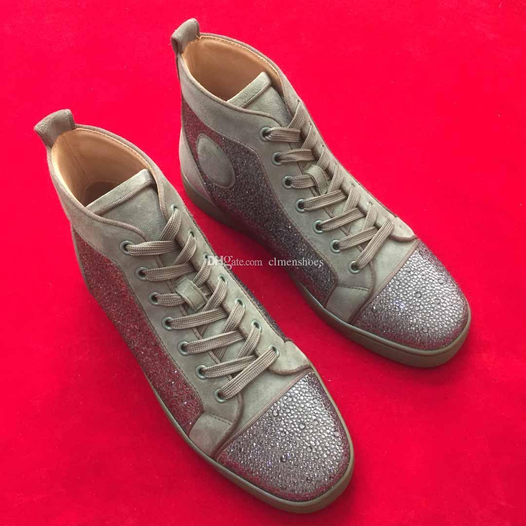 Luxey Baskets montantes Red Top Sneakers Bas pour les hommes strass formateurs rouge Soles design strass Chaussures de haute qualité Marque Chaussures Hommes Flats cadeaux