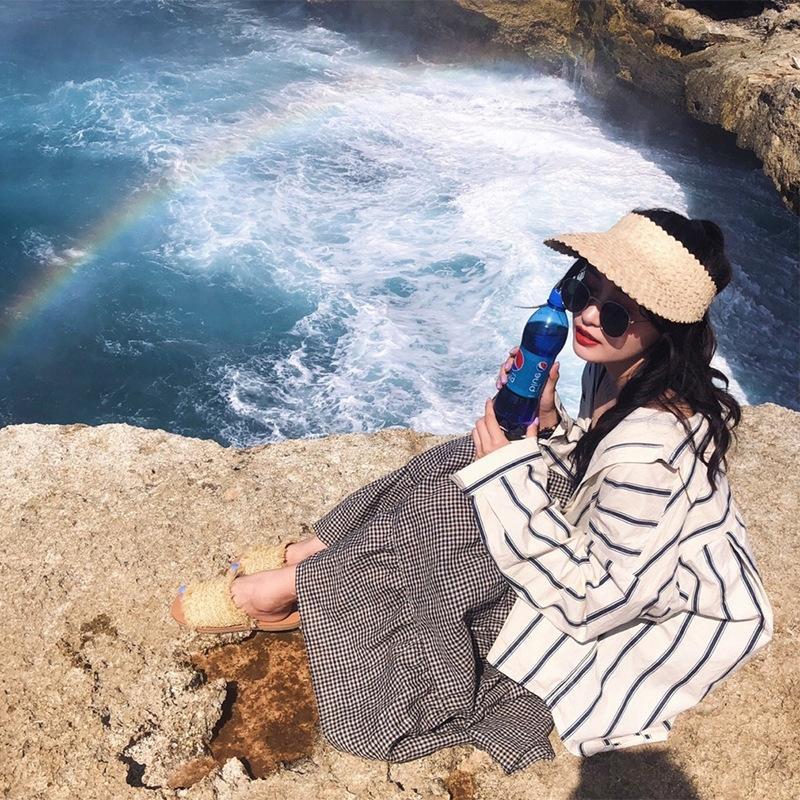 tutto-fiammifero di paglia copertura di viaggio stile coreano delle donne di paglia ins vuoto cappello superiore del sole di estate del cappello del sole senza fondo volto zIRFN