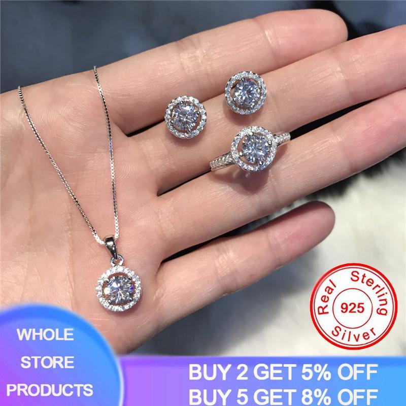 Yanhui 100% Original 925 bijoux en argent sterling mariée ensembles 1.0ct anneau de mariage Collier Lab diamant Boucles d'oreilles en argent 925 bijoux