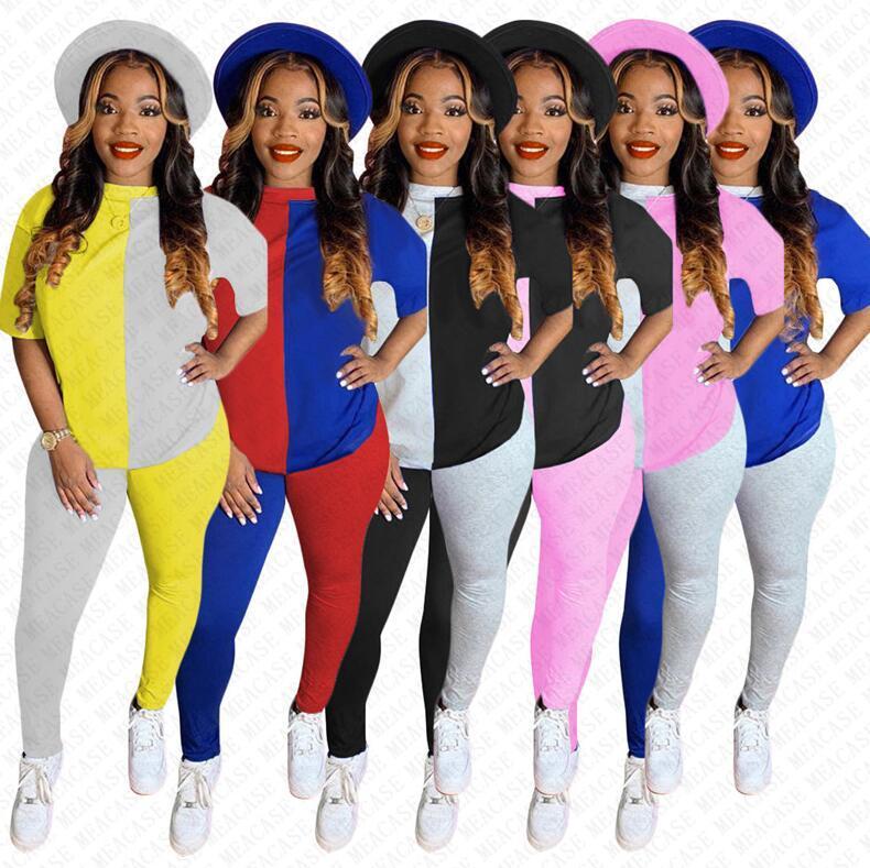 Frauen Anzug Designer Patchwork Farbe Kurzarmshirt mit runden Ausschnitt T-Shirt-Gamaschen-Hosen Zweiteiler Outfit Farbblock Sport Anzug D72303